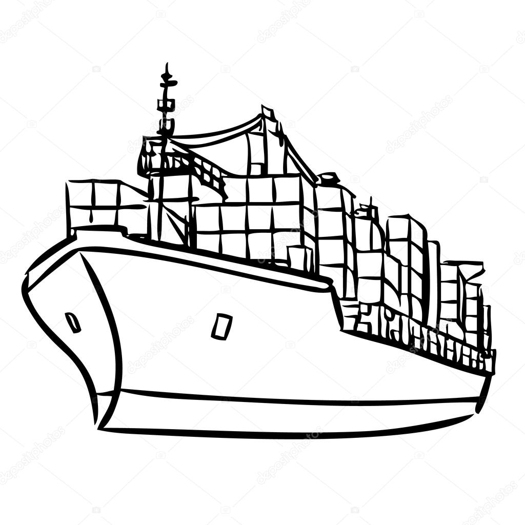hight resolution of cargo ship with containers stock illustration
