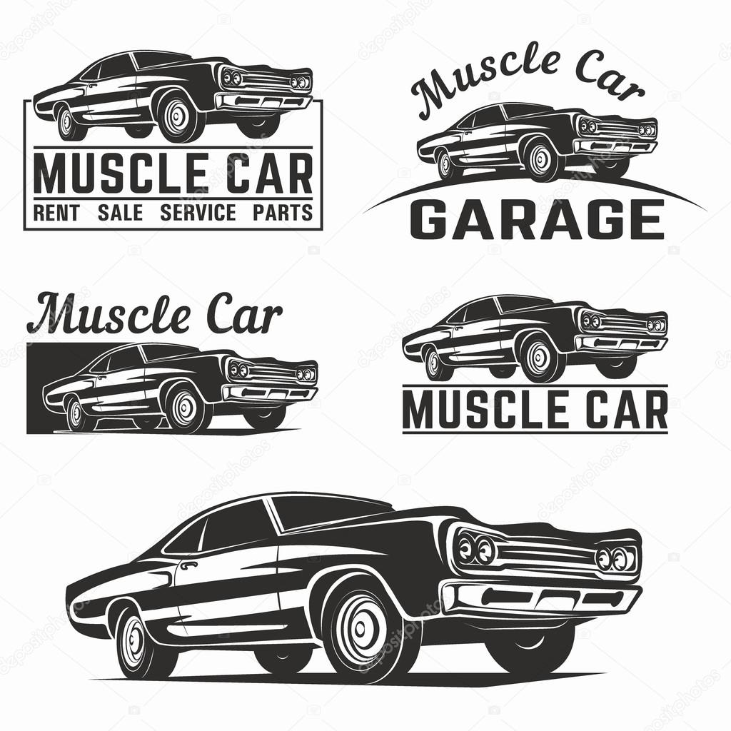 Muscle Car Vector Emblema Logo