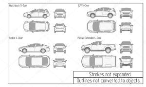 coche sedán y suv contornos no convertidas a los objetos