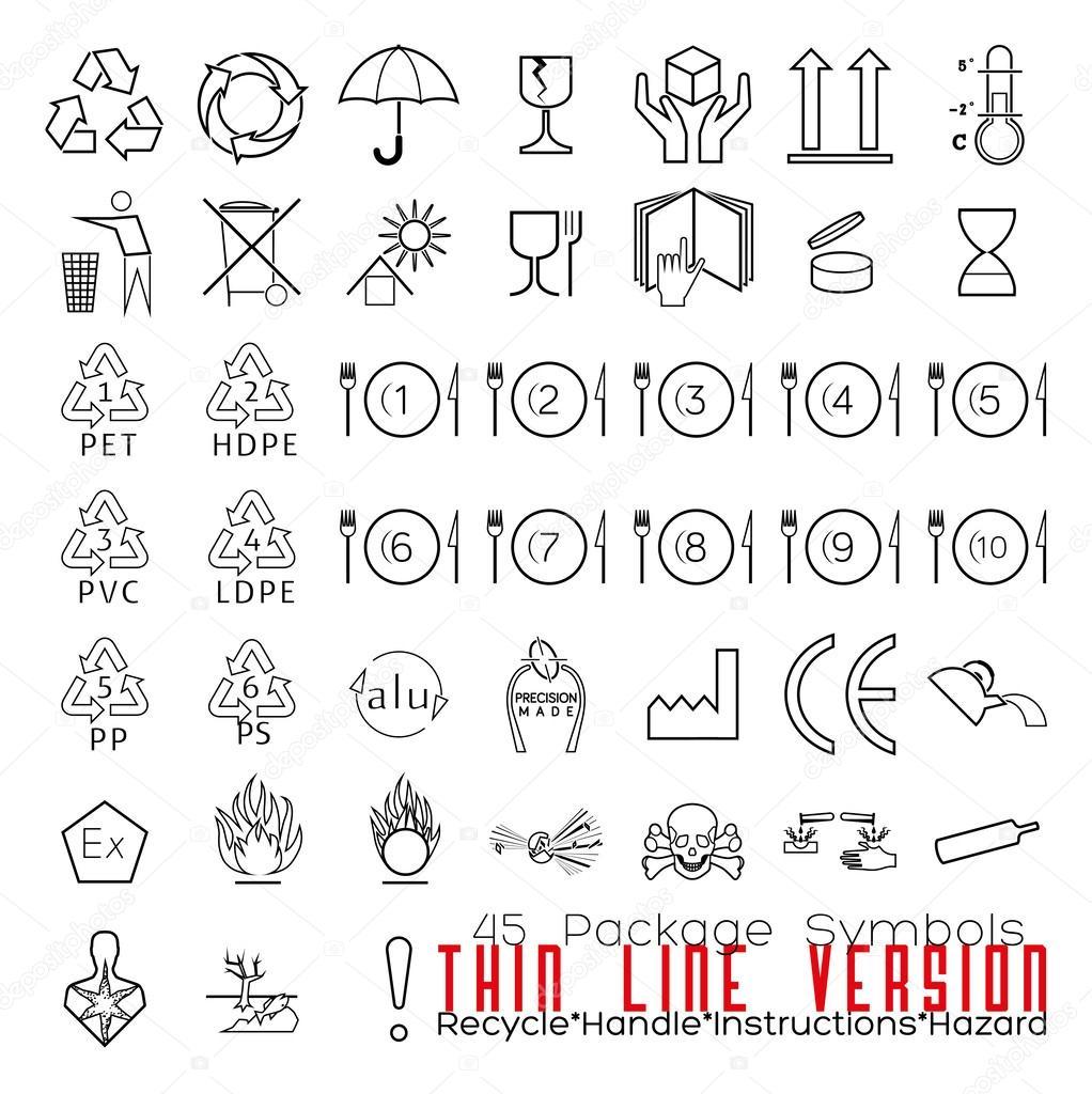 Collectie van 45 verpakking symbolen — Stockvector