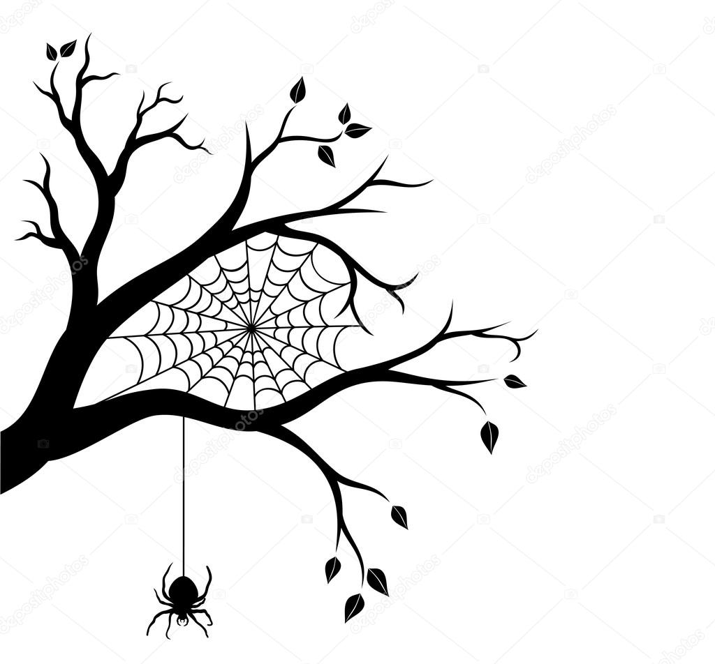 Halloween Tree Branch And Spider Web Vector Illustration