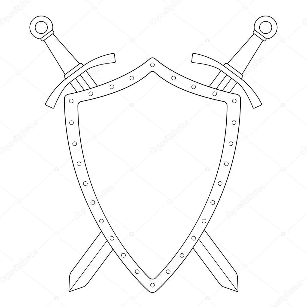 Two crossed swords with shield — Stock Vector © bsd #75625979