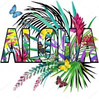 Aloha. Aloha Tee Shirt design. Tropical plants watercolor