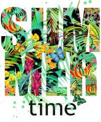 Summer time Tee Shirt design. Tropical plants texture