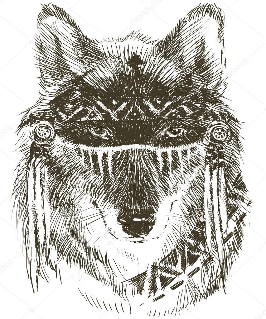 Guerrero Indio Lobo Lobo Guerrero Indio Lobo Dibujo De Lobo