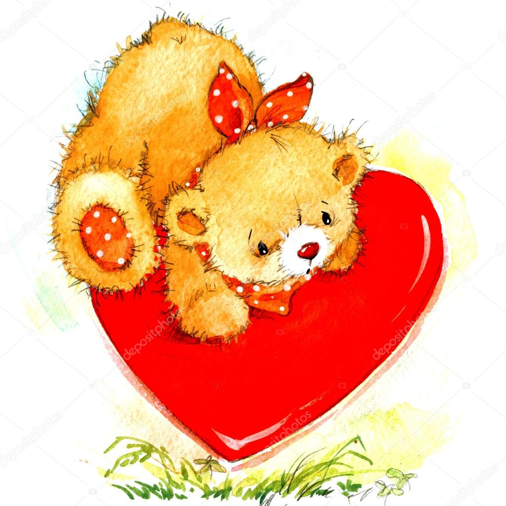 Valentine Day Background For Card With A Cute Teddy Bear
