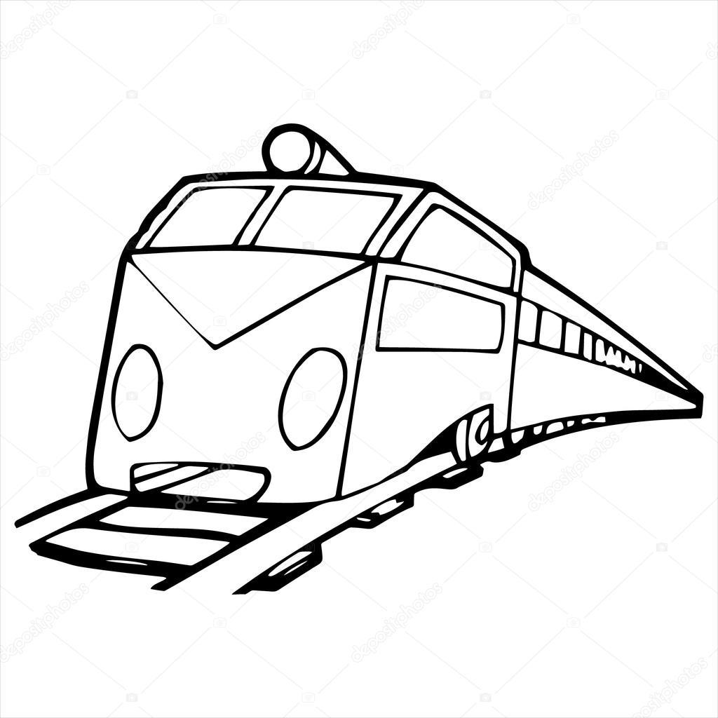 Modern Train Cartoon Illustration Isolated On White