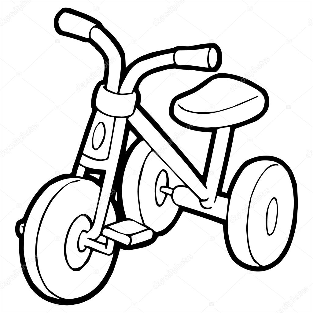 Tricycle Cartoon Illustration Isolated On White