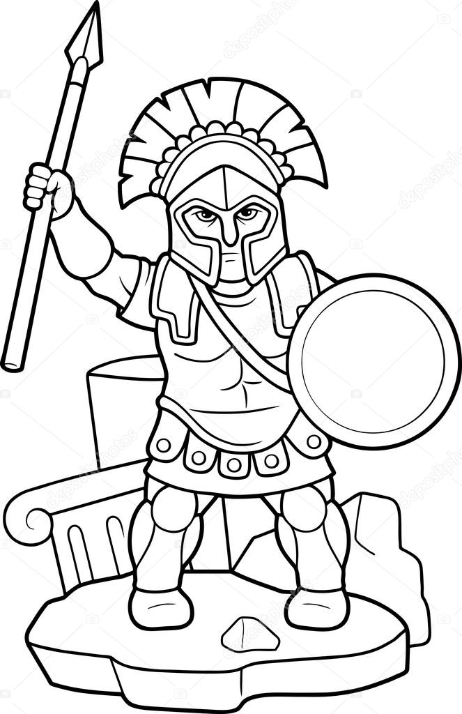 Spartan spear in his hand — Stock Vector © Fargon #92361500