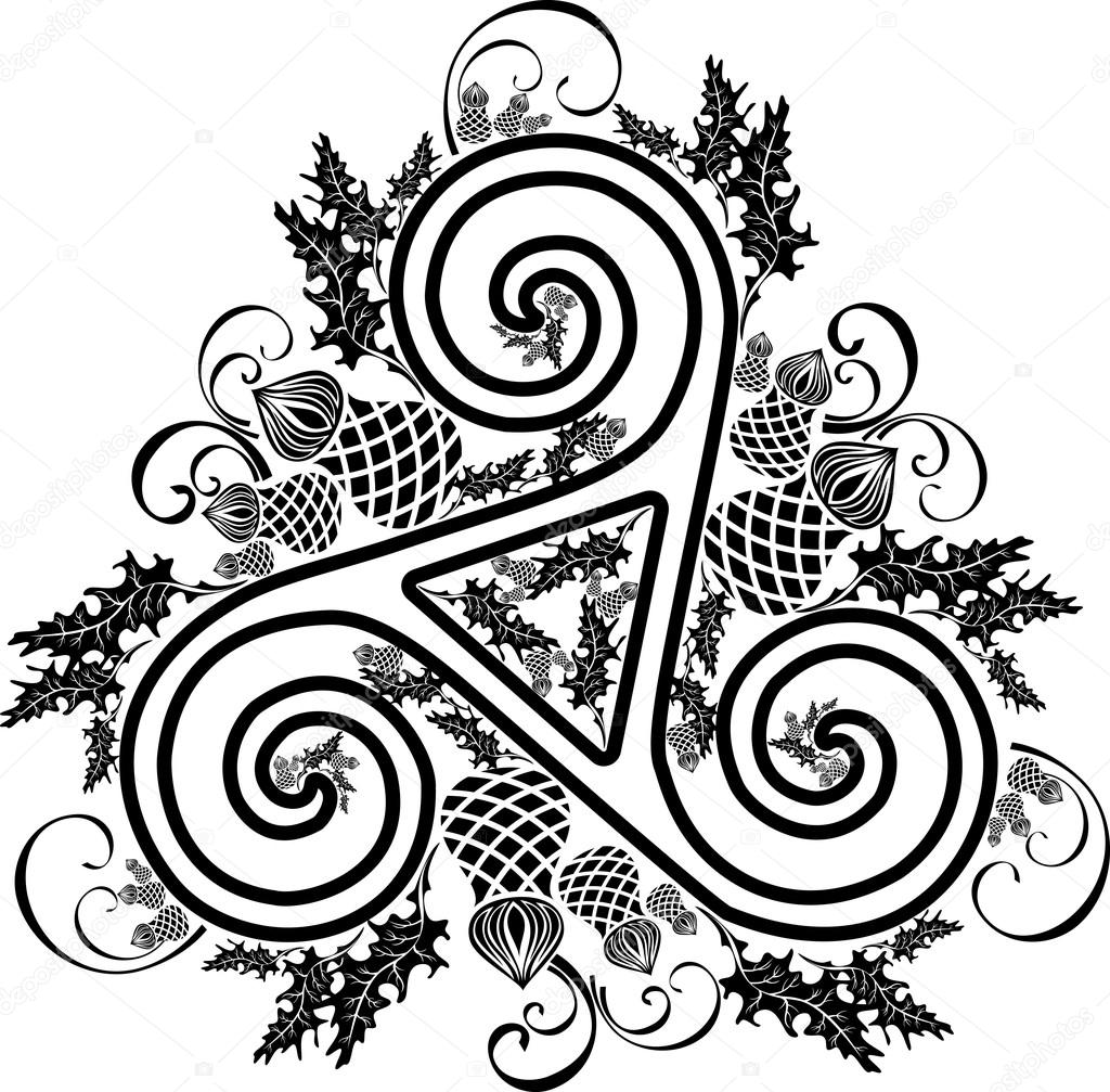 Black And White Image Celtic Triad With Flowers Of