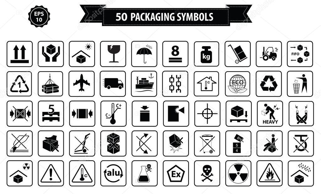 Menge der Verpackung Symbole — Stockvektor #89591508