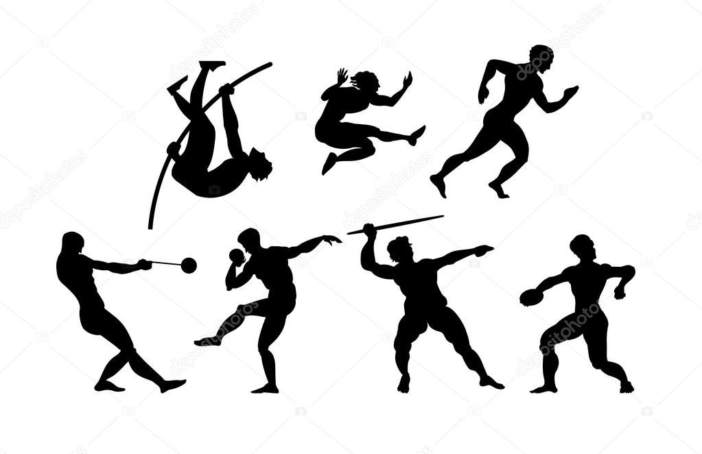athletics silhouette in black color on white background