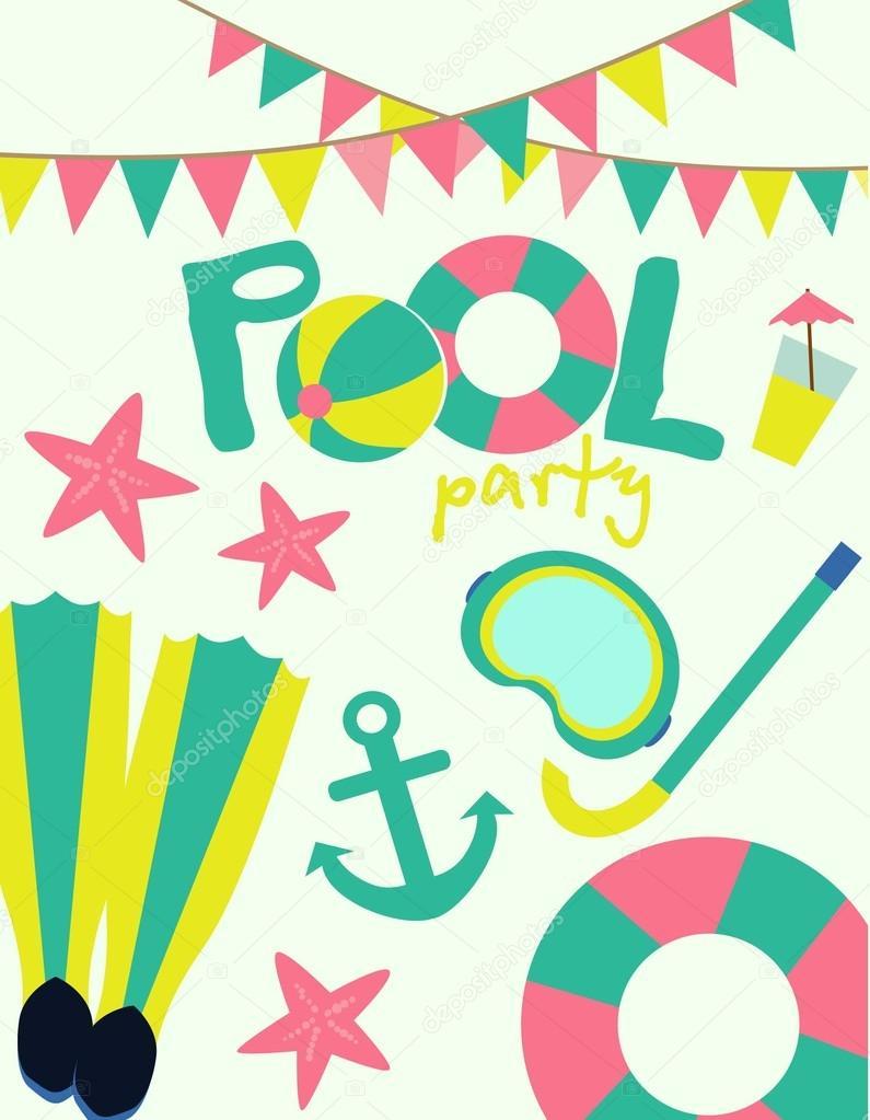 Pool Party Invitation — Stock Vector