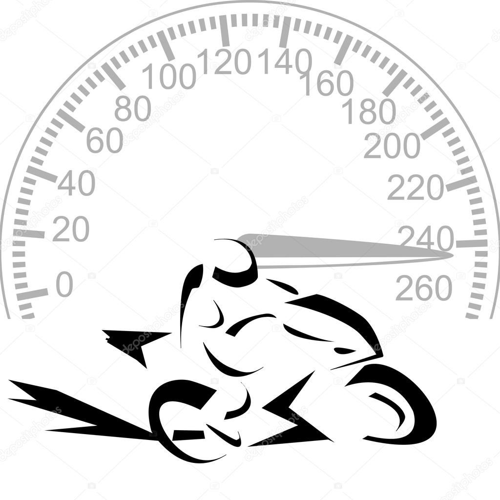 Vector illustration logo of Motorcycle and speedometer