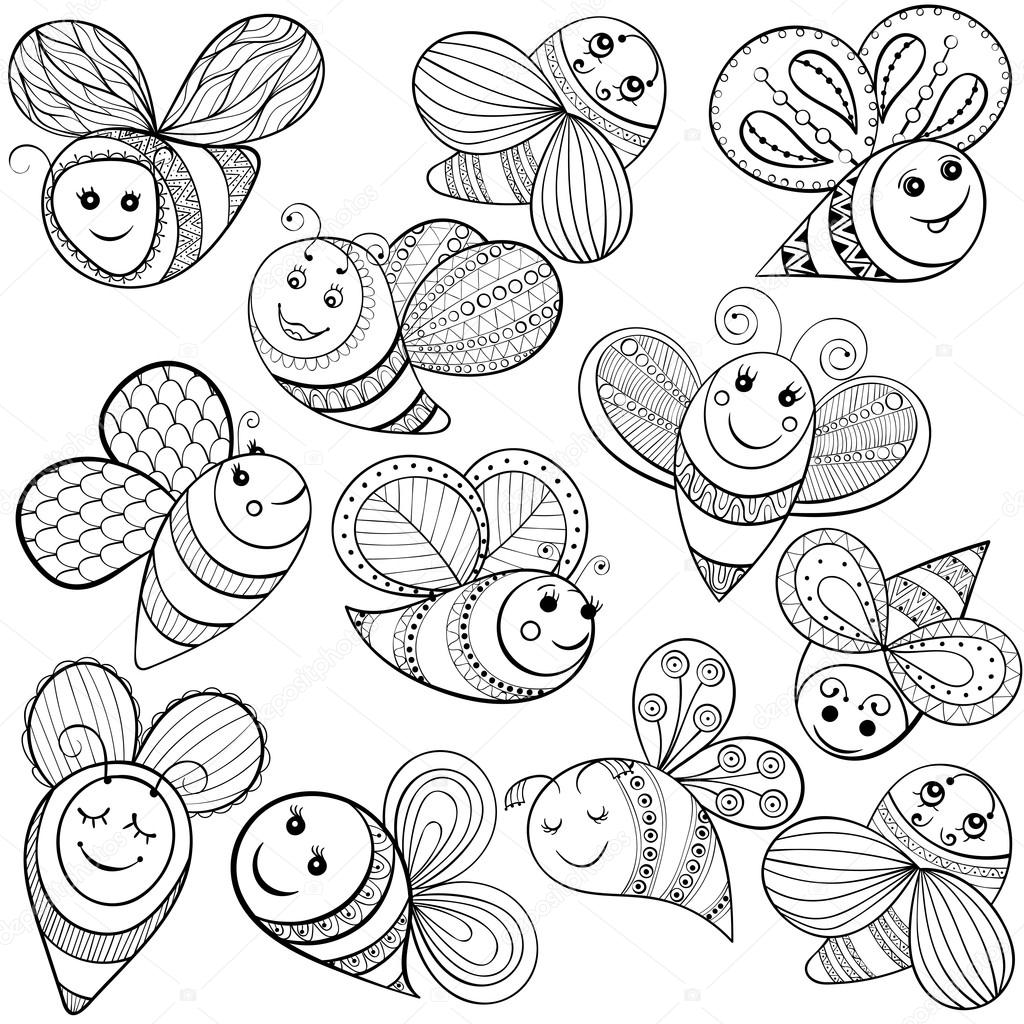 Vector bees for adult coloring page. Hand drawn funny