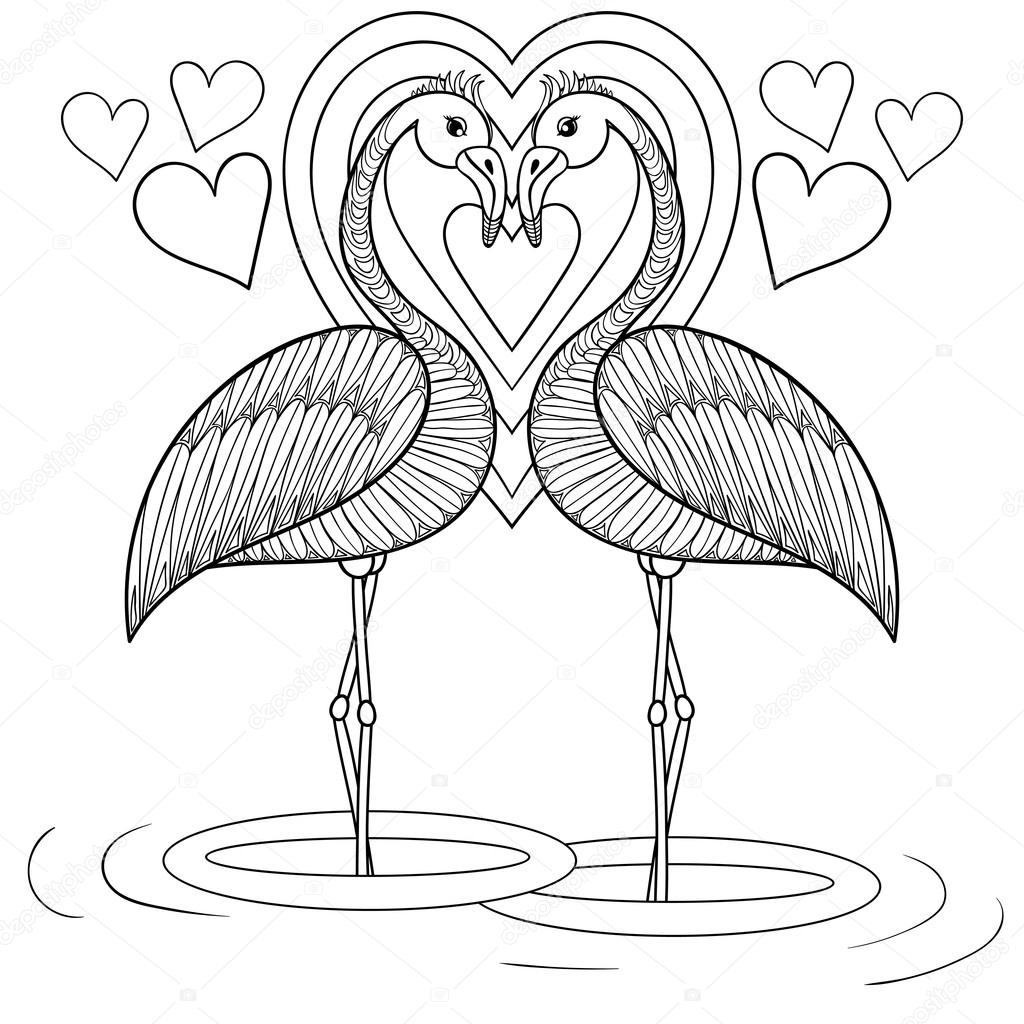 Coloring page with Flamingo in love zentangle hand