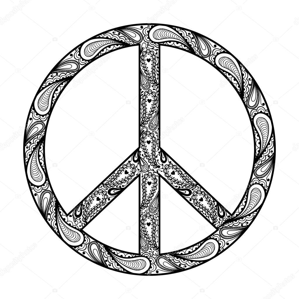 Peace Sign Zentangle Black Symbol Tattoo Design In