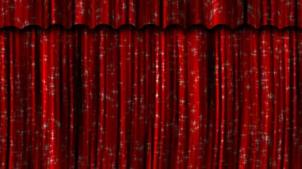 red curtains open and