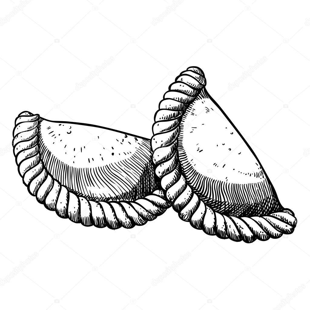 Two Empanadas Hand Drawn Illustration