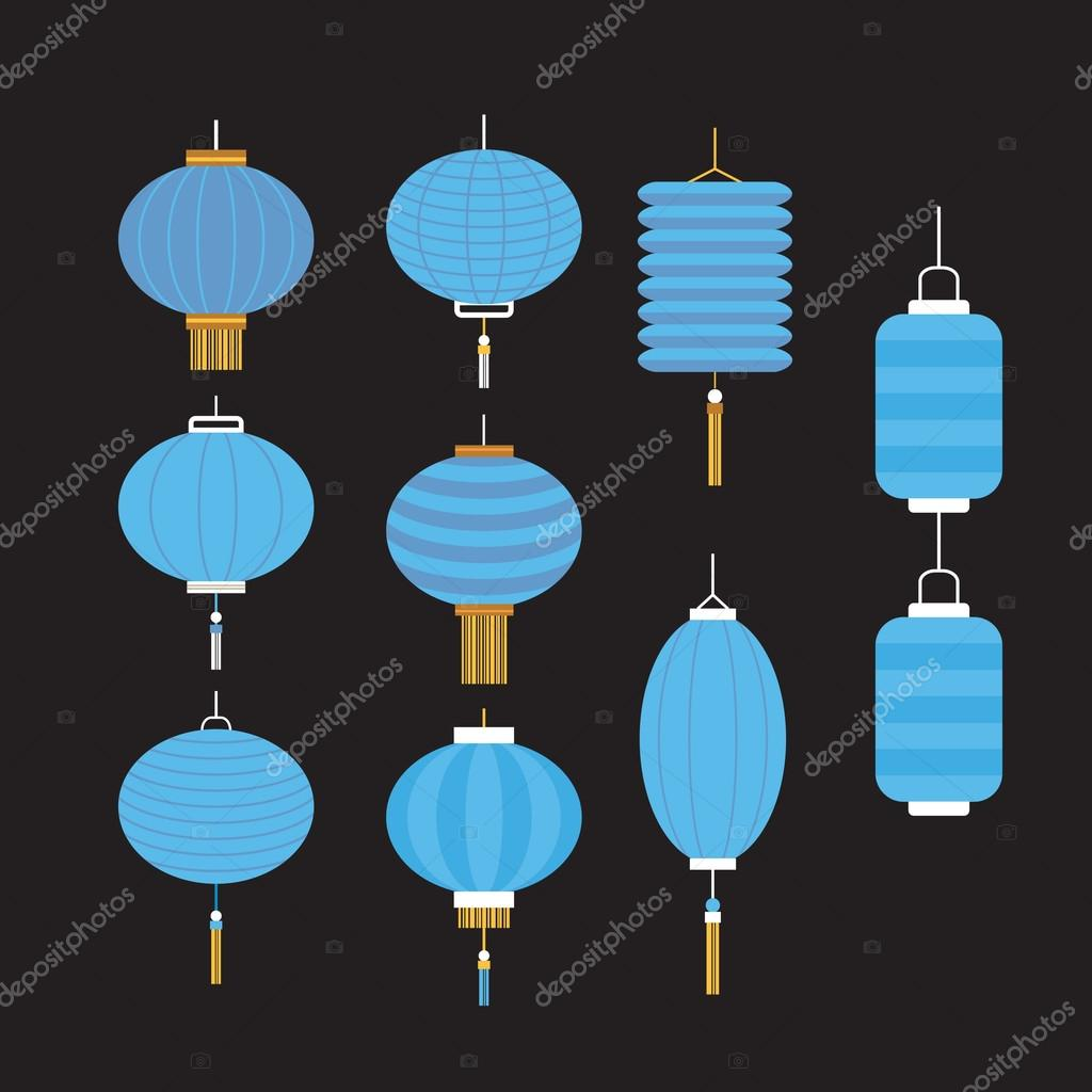 collection of blue chinese