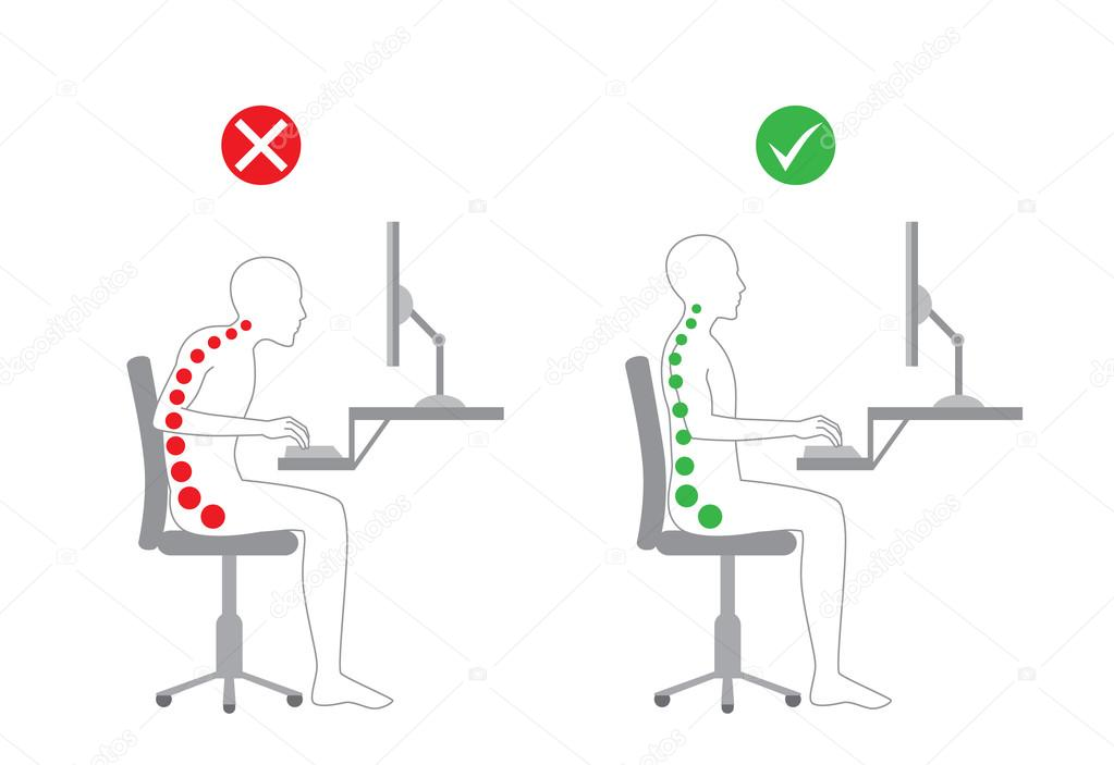 better posture chair black velvet covers correct in sitting working stock vector c solar22 95273618 body alignment with computer by