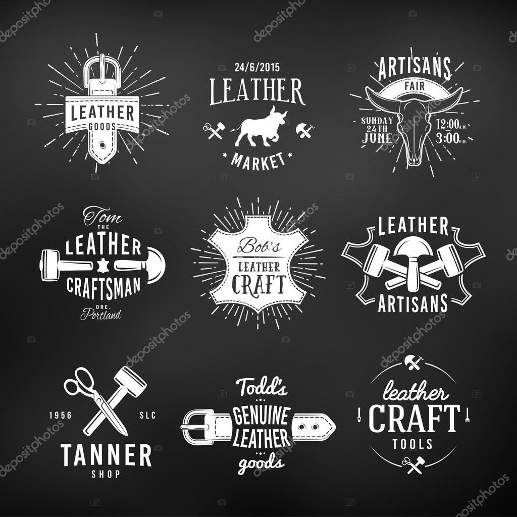 Images Leather Logos Set Of Leather Craft Logo Designs Retro Genuine Vintage Tool Labels Artisans Market Insignia Vector Illustration On Dark Background Stock Vector C Gromovpro 77280502