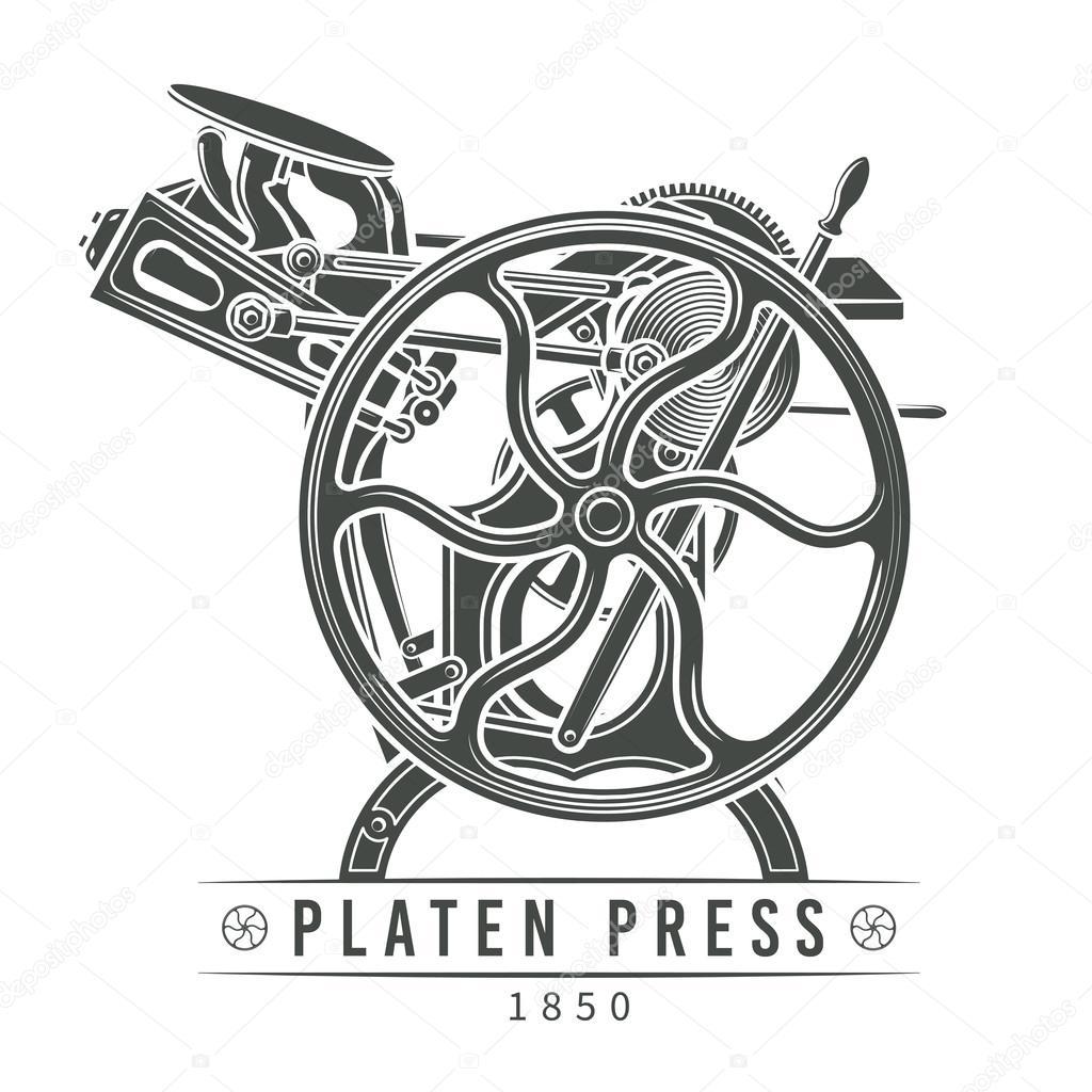 Platen press vector illustration. Old letterpress logo
