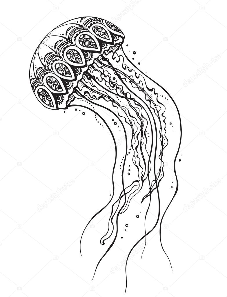 Hand drawn vector jellyfish in black and white doodle