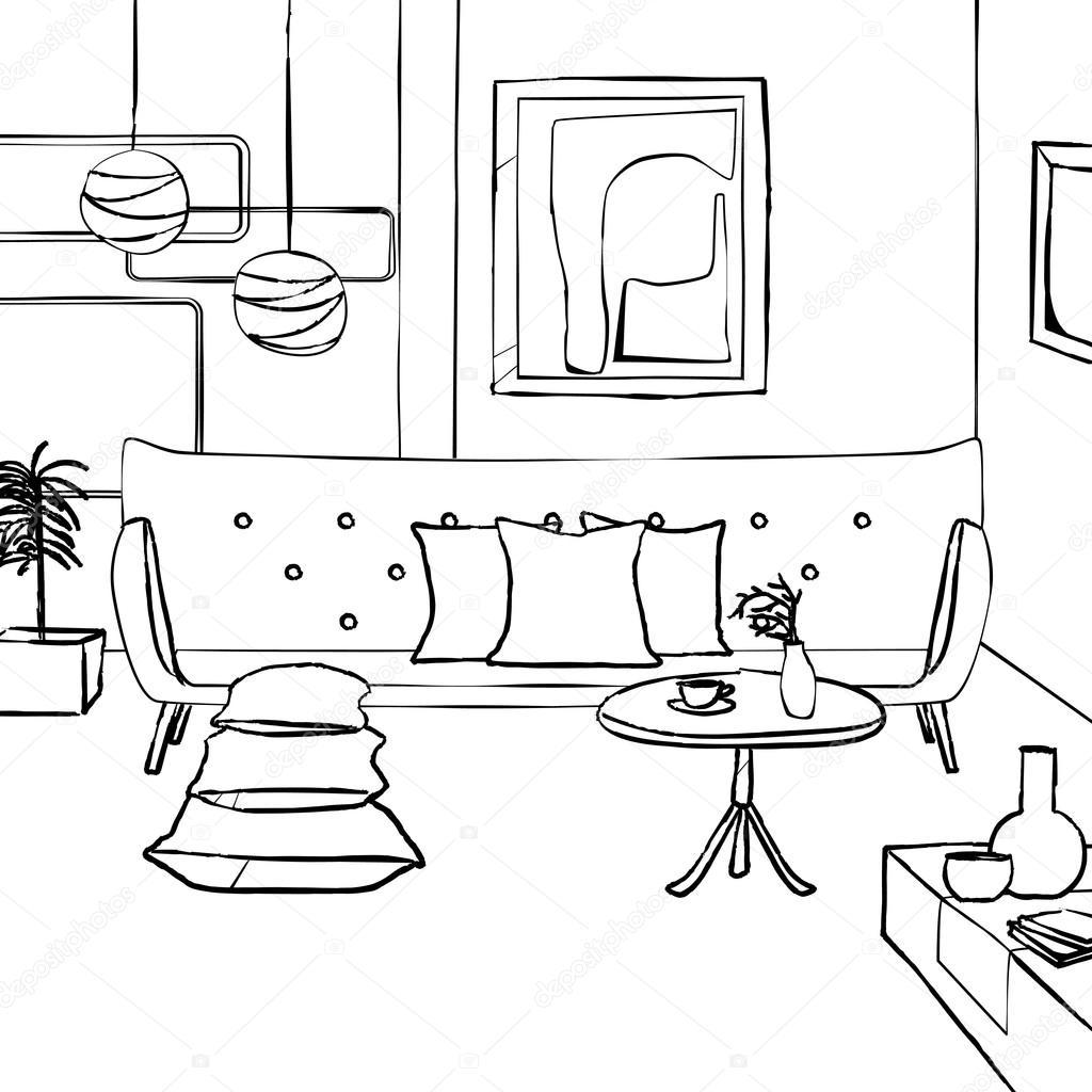 Sofa Vermelho Na Sala De Estar Interior Simples Sketch