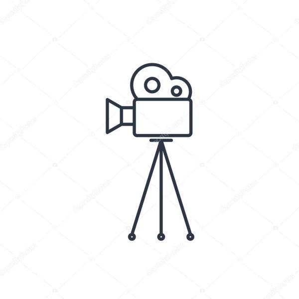 Filmová kamera na stativu osnovy ikonu Stock Vektor