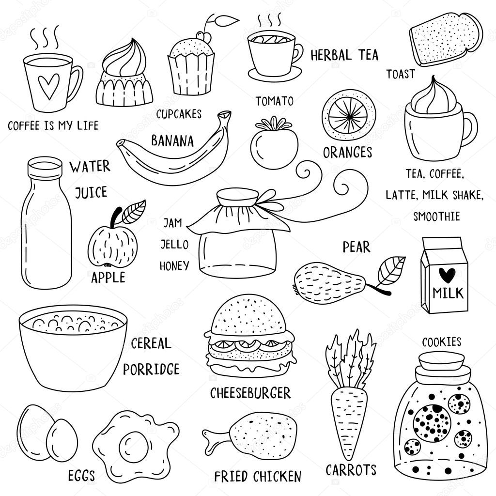 Hand drawn breakfast food and icons doodle set. School