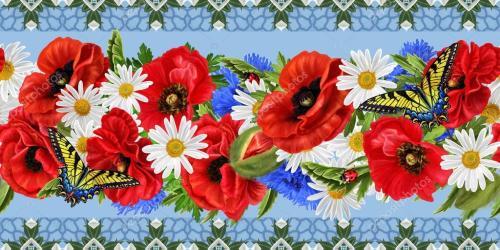 border horizontal floral poppies flowers daisies seamless pattern ladybugs butterflies