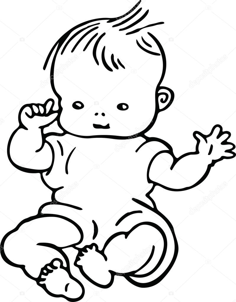Simple line drawing of a cute baby — Stock Vector © Prawny