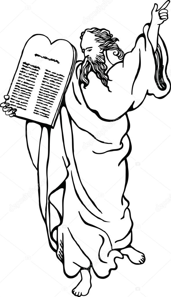 Moses carrying the ten commandments carved on stone