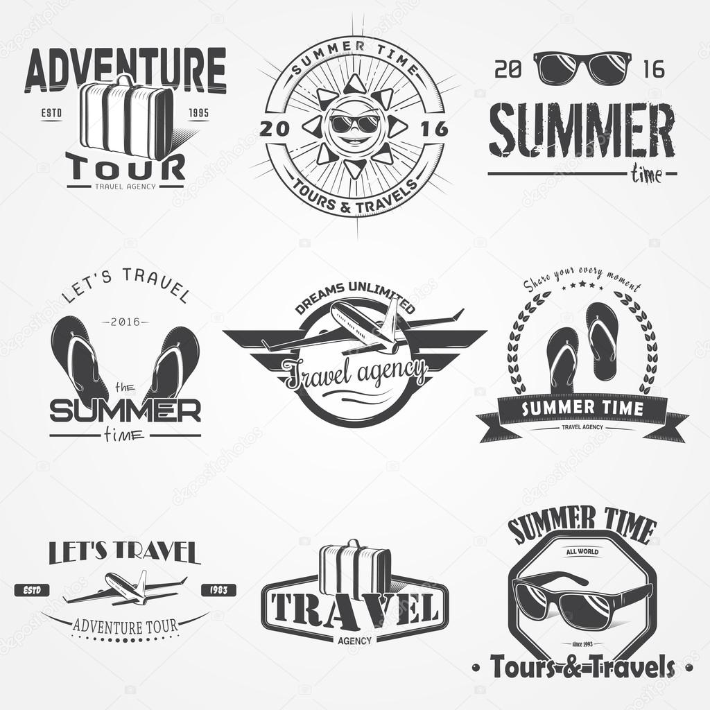 Summer Time Set Tourist Agency Travel Around The World