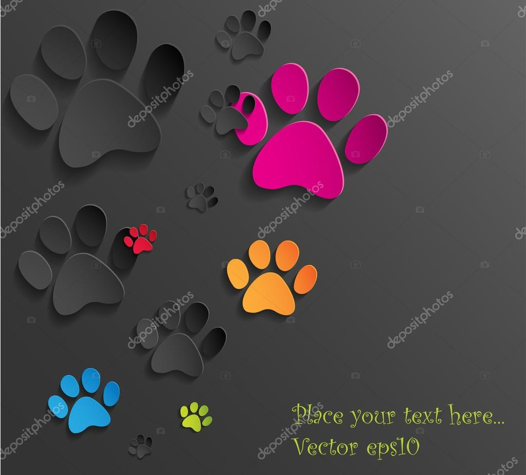 hight resolution of abstract paper cat paws background