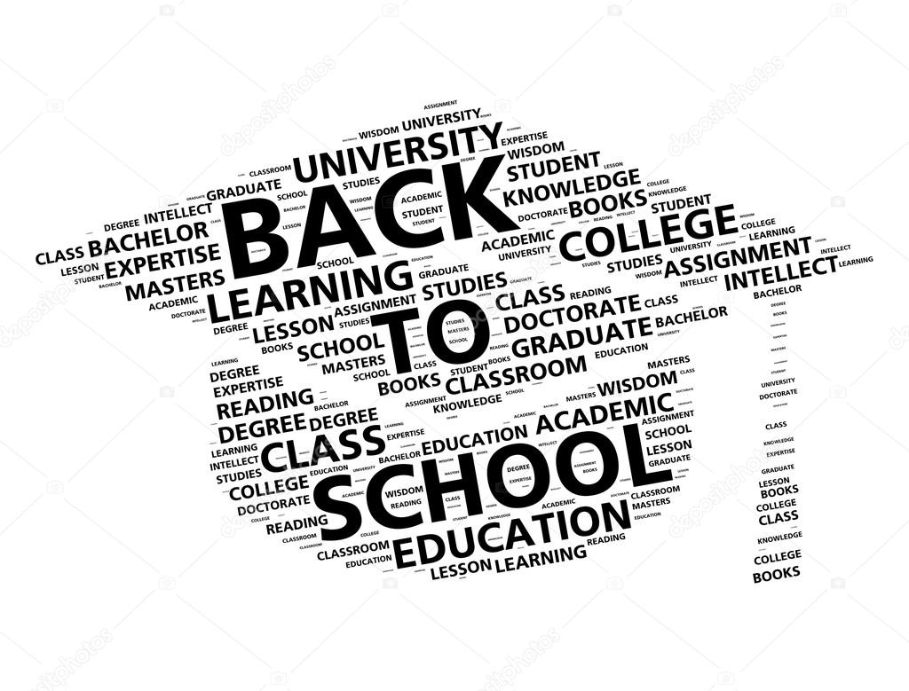 Graduation cap word cloud for going back to school — Stock