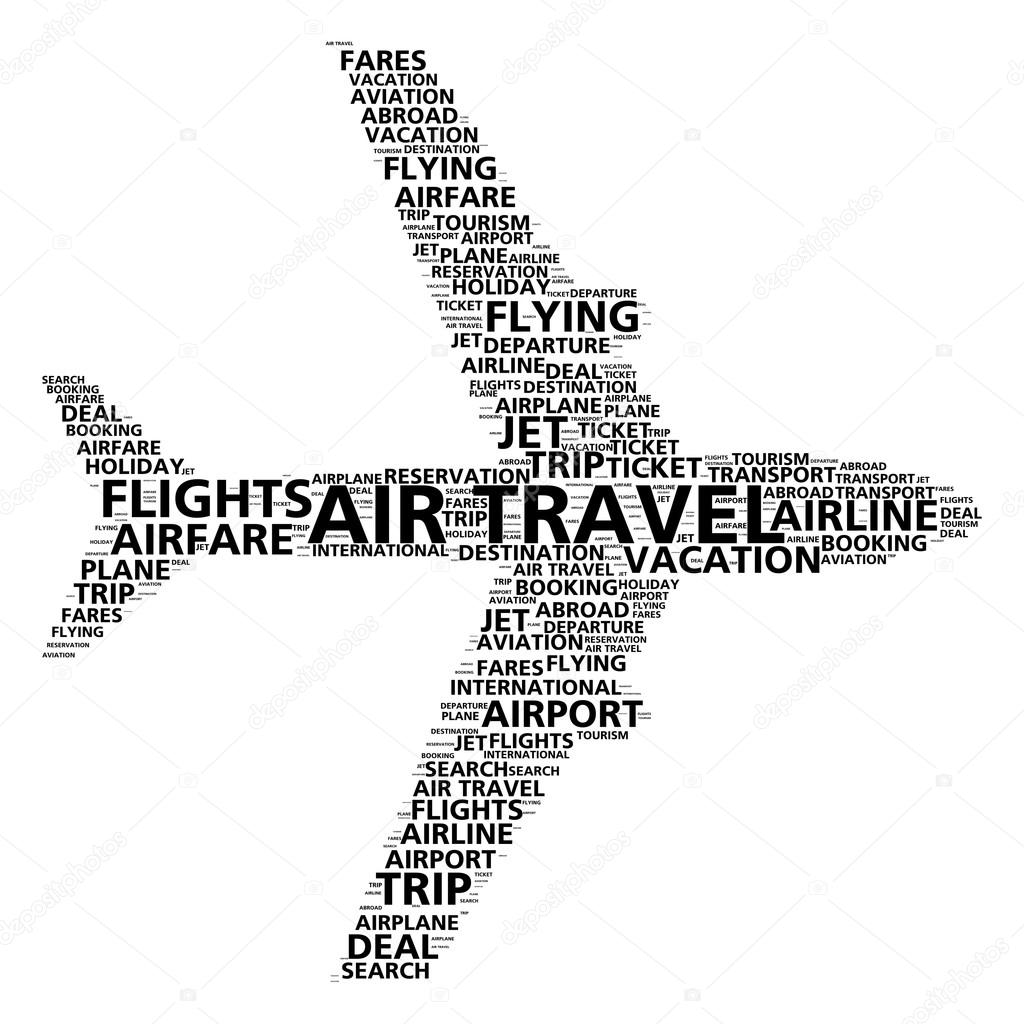 Air travel word cloud for airline booking and flight