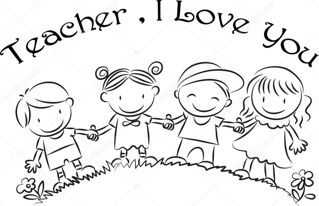 Cartoon drawing happy teachers'day card — Stock Photo
