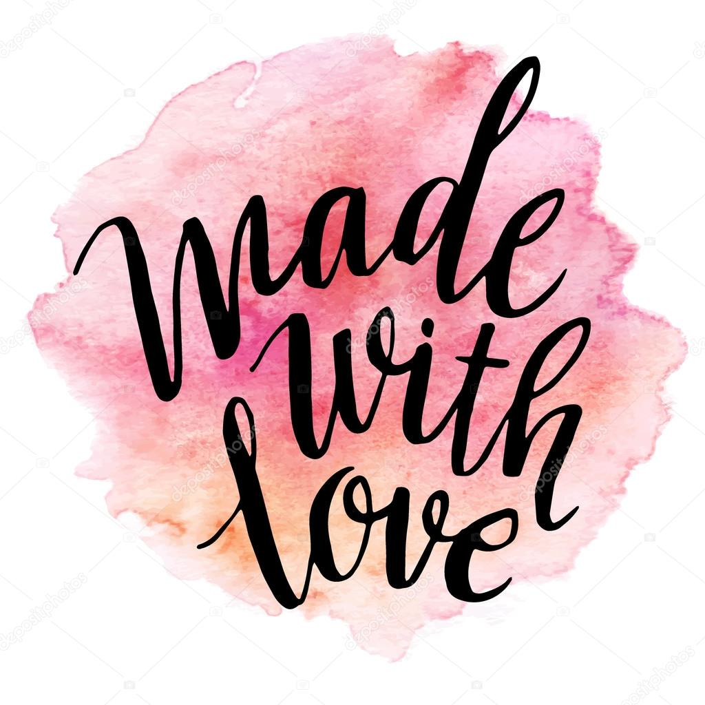 Download Made with love. Watercolor lettering. Vector illustration ...