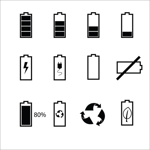Battery status icons set — Stock Vector © tawesit@gmail