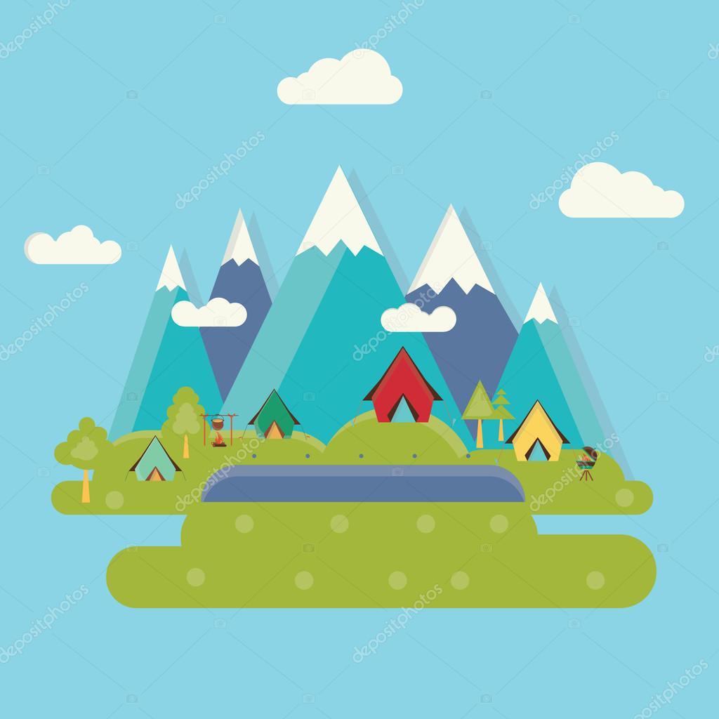 Paesaggio di campeggio con tenda Illustrazione vettoriale di design piatto  Vettoriali Stock