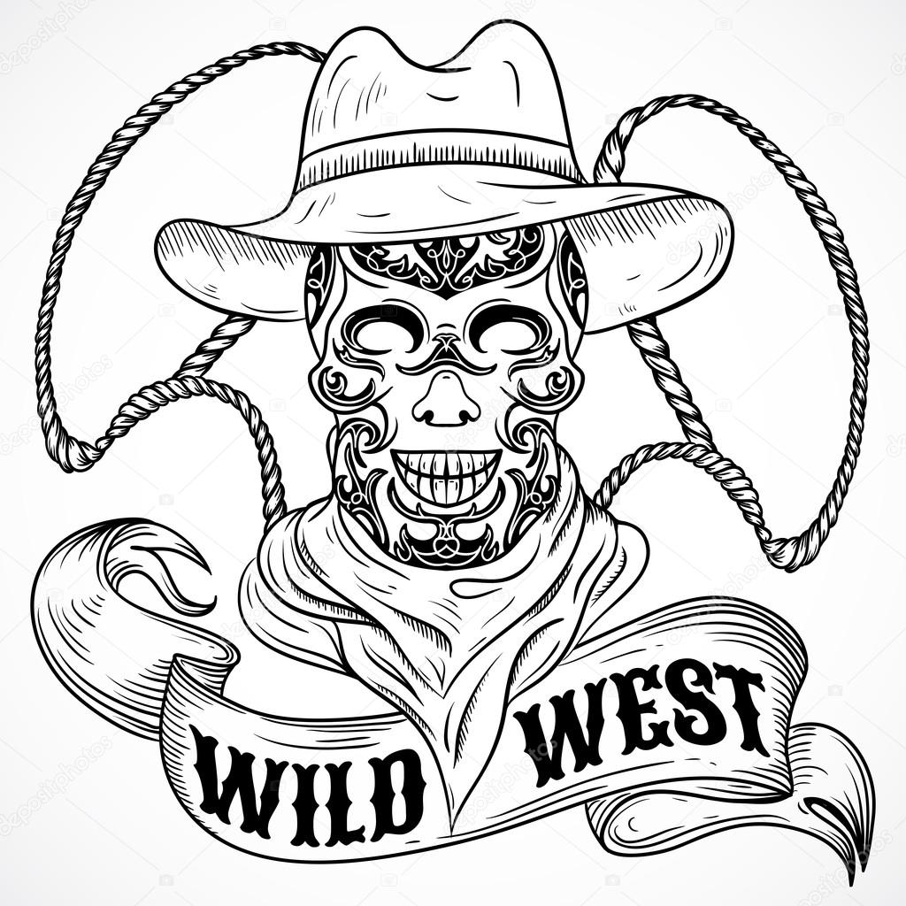 Wild West Vintage Poster With Scull Cowboy Lasso And