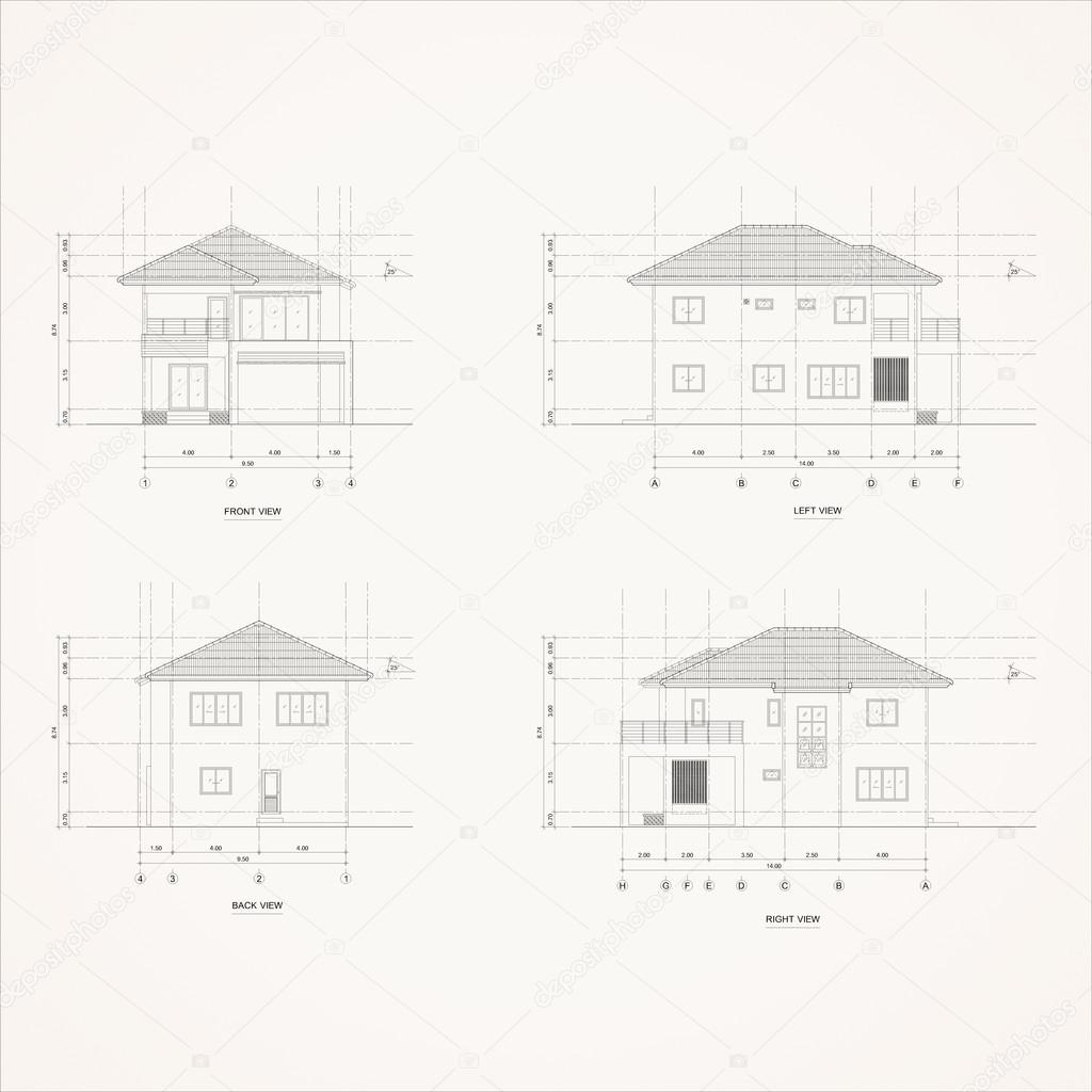 4 elevation house Drawing — Stock Photo © LookAod #91337180