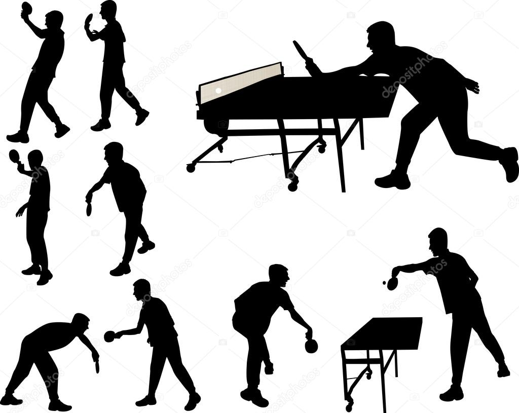 Table Tennis Players Vector Silhouette