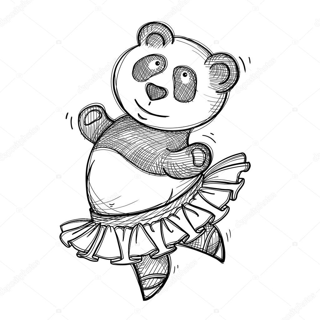 Vector sketch of a funny dancing panda — Stock Vector