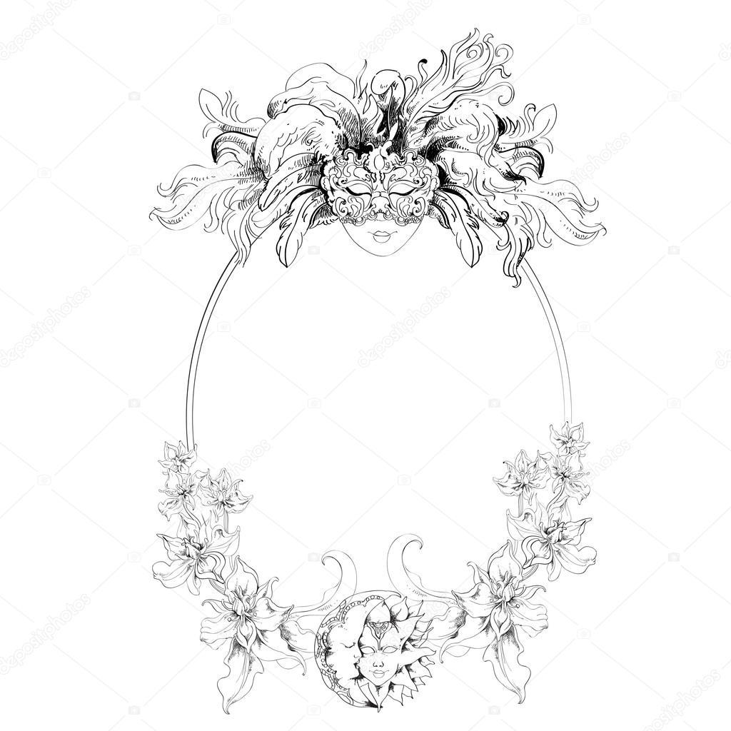 Armazón de la mascarilla veneciana — Vector de stock