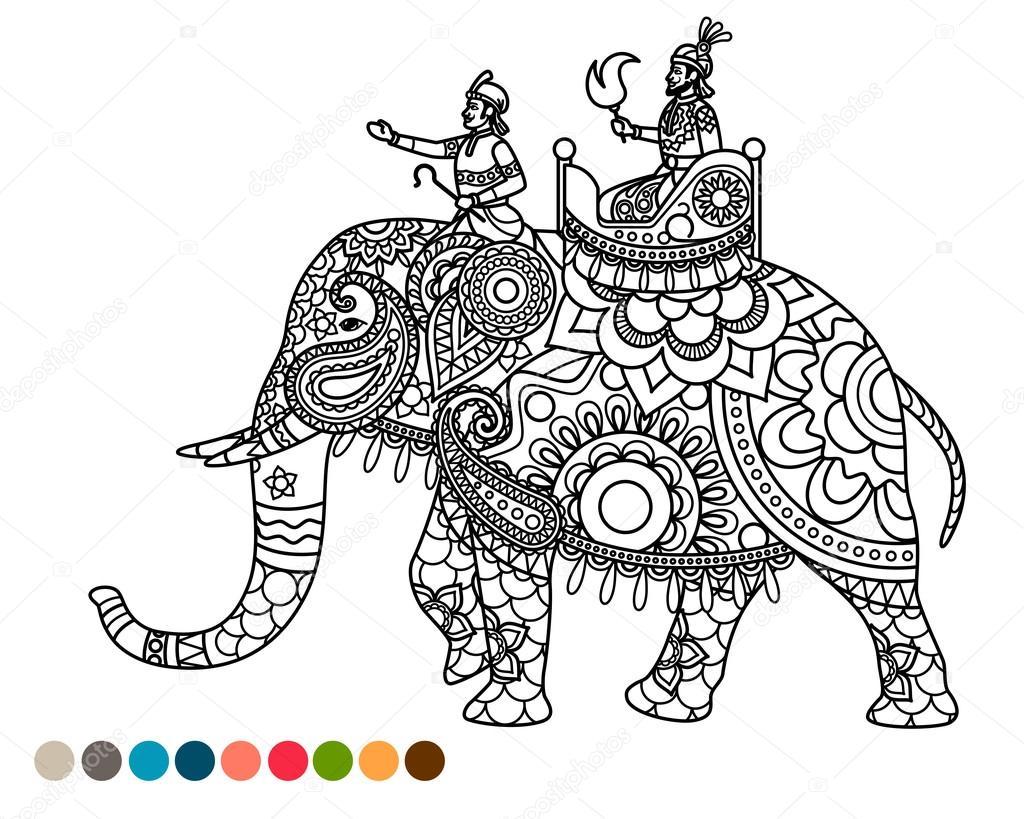 Coloriage Anti Stress Avec Maharaja Sur Elephant