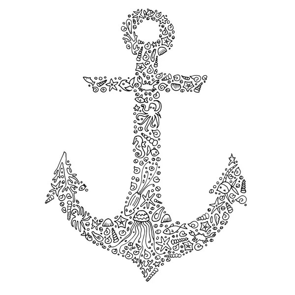 Zentangle hand-drawn anchor with sea creatures. Adult