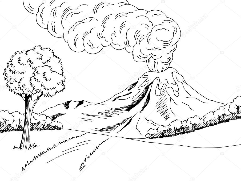 Vulcão montanha morro estrada arte gráfica preto branco